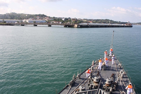 The HTMS Narathiwat pulls into Sihanoukville Port on a friendship call to Cambodia.