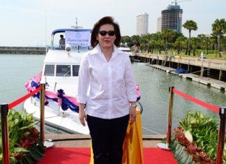 Department Director Benja Louischaroen officially launches the 60-foot speedboat at Pattaya's Ocean Marina.
