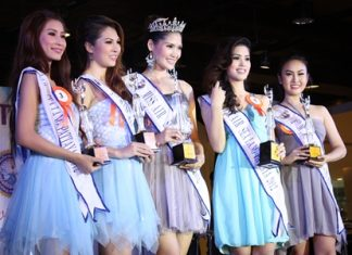 (L to R) Aphiya Ladkrathum, third runner up; Chanokanan Tochuwong, second- runner up; Supaporn Netwong, Miss Air Sea Land Pattaya 2012; Pimchanok Jitchu, first-runner up; and Thanyachanok Phetraiyuthpan, fourth runner up.