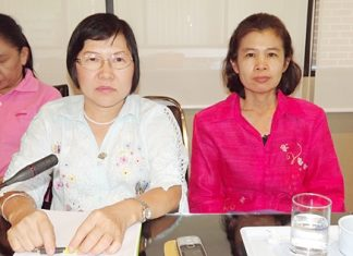 NGO Director Viphada Maharattanawiroj (left) and Thumniep Sangwaanprakaisaeng, specialist nurse with the Bureau of AIDS, TB and STDs provide their ideas at the meeting.
