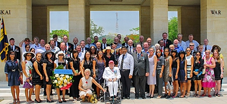 Our Group at Chungkai War Cemetery, the Ambassador and Bert Elson centre.