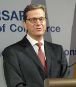 Foreign Minister Westerwelle delivers his speech.