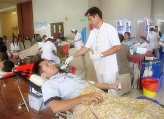 Bangkok Hospital Pattaya and Rajadhevi Sriracha Hospital have launched a blood drive to replenish national Red Cross supplies.