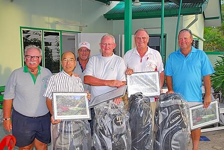 The winning team: Derek Brook, Mashi Kaneta, Bob Watson and Max Scott with the 'Admiral' and Peter Blackburn.