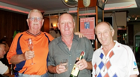 From left: Sunday's winners Mike Craighead and Bob Newell with Colin the Golf Manager.