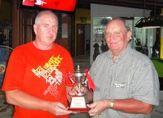 Steve Milne accepts the winning pair's trophy from Bob and on behalf also of his playing partner, Ian Heddle.