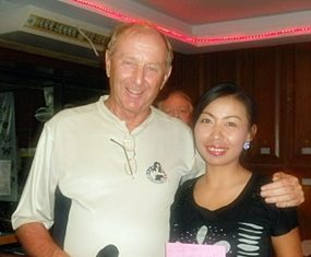 Sunday's winner Yui Bietry with golf manager Colin Davis.