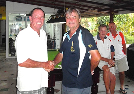 Paul Bourke, left, winner of Jack's Birthday Cup, is congratulated by the General.