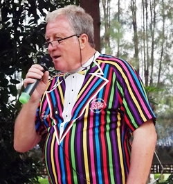 Master of Ceremonies Jim Howard finely attired for the occasion.