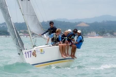 """The youthful crew on """"Stingray"""", skippered by Dylan Whitcraft."""
