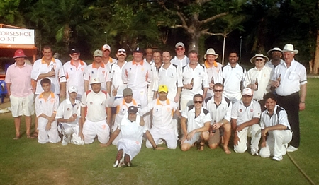The Pattaya Cricket Club and British Club of Bangkok players pose for a group photo prior to last weekend's match.