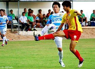 Pattaya United are seen in action against Osotspa Saraburi FC at the Nongprue Stadium, Pattaya, Sunday, May 13. (Photo/Ariyawat Nuamsawat/Pattaya United)
