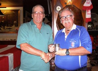 Peter Blackburn, left, receives the Cafe Kronborg April Monthly Mug from 'The Admiral'.