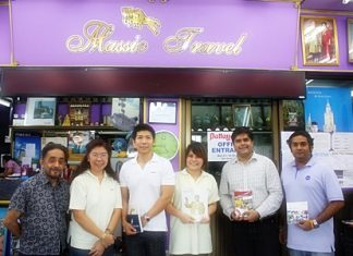 During the most recent sales promotion trip to Pattaya, representatives of Air Madagascar, Air New Zealand and Cebu Pacific Air paid a courtesy visit to Massic Travel, the Eastern Seaboard's friendliest travel agents, to update them on the new promotions and services offered by their respective airlines. On hand to welcome them were Marlowe Malhotra and his family of ticketing experts. (L to R) Marlowe Malhotra, Managing Director of Massic Travel Co., Ltd., Walapa Asanprakit, Sales Manager of Air Madagascar, Pijitra Sriboonnark, Sales Executive of Air Madagascar, Sanhakot Vithayaporn, Sales Manager of Air New Zealand and Cebu Pacific Air, Suwanthep Malhotra, Deputy Managing Director of Pattaya Mail Media Group and Vikrom Malhotra, Manager of Massic Travel.