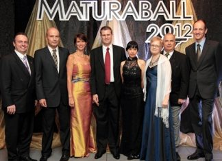 """H.E. Christine Schraner Burgener (3nd left), Ambassador of Switzerland to Thailand, and H.E. Christoph Burgener (2rd left), Ambassador to the Kingdom of Cambodia, the Lao PDR and the Union of Myanmar, Embassy of Switzerland were guests of honor at the """"Maturball 2012"""" held at the Amari Watergate Hotel Bangkok recently. The event was organized by Swiss School Bangkok-European Education which saw more than 200 Swiss guests in attendance, including Pierre Andre Pelletier, the hotel's GM, Michael Gwerder, Director of Swiss School Bangkok, Adriana Gwerder, Johanna Vanska, Rene K. Fritschi and Michael Gschnaidner."""