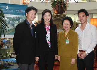 Prime Minister Yingluck Shinawatra personally expressed her sincere gratitude to Royal Cliff Hotels Group Managing Director Panga Vathanakul (2nd right) and her sons Vice-President Vathanai Vathanakul (left) and Executive Director Vitanart Vathanakul (right) for the high quality services, cuisine and excellent set-up in the meeting rooms during the 5th Mobile Cabinet Meeting held in Pattaya on June 18-19.