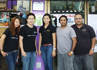 Wisutthisak Machchacheep (2nd left), Senior Account Manager and Piyamas Chitmaklam (3rd left), Account Manager, of Etihad Airways recently made a courtesy call on the management of Massic Travel one of their most reliable ticketing agents in Pattaya to show support and encouragement for their hard work. On hand to welcome them were Massic Travel staff, Hongsiri Monphranist (left), Vikrom Malhotra 2nd right) and Afsar Ali Khan (right).