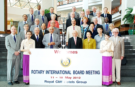 At the end of a most successful Rotary International Convention held in Bangkok in early May, Rotary International President Kalyan Banerjee (centre left) led an entourage of senior Rotary leaders, which included directors of Rotary International, for their board meeting at the Royal Cliff Beach Hotel in Pattaya. Attendees included President Elect Sakuji Tanaka (centre right) and President Nominee Rob Burton (4th row centre). They were given an especially warm welcome by Panga Vathanakul (4th left), MD of the Royal Cliff Hotels Group.