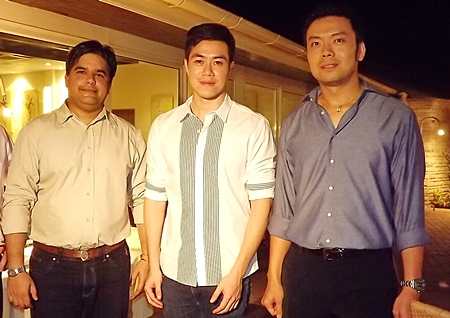 The next generation of Pattaya entrepreneurs, (l-r) Tony Malhotra (Asst. MD Pattaya Mail), Prem Busarakamwong (Managing Director of Fairtex Sports Club & Hotel) and Nopporn Kanchanamanee (District Sales Manager of Thai Airways, Pattaya).