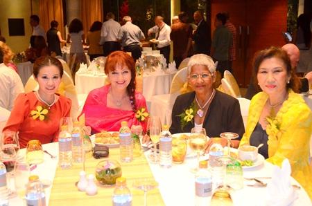 "Members of the YWCA lent their support to the happy occasion. (l-r) President Praichit ""Nitnoi"" Jatapai, Elfi Seitz, Laurence Fatus and Nittaya Patimasongkroh."