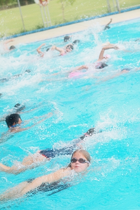 Students swim to help their Fobissea fund.