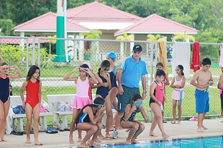 GIS students prepare for a sponsored swim.