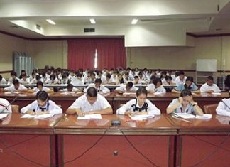 Students from Pattaya and Banglamung take a written test to begin the 7th annual Young Ambassador contest.