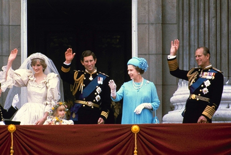 In this July 29, 1981 file photo, Prince Charles and his bride Diana, Princess of Wales, and his parents, Queen Elizabeth II and Prince Phillip, wave from the balcony of Buckingham Palace in London after their marriage at St. Paul's Cathedral. (AP Photo, File)