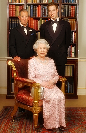 In this June 2, 2003 file photo, three generations of the British Royal family: Queen Elizabeth II; her eldest son, Charles the Prince of Wales, left; and his eldest son, Prince William, pose for a photograph at Clarence House in London. (AP Photo/Kirsty Wigglesworth, Pool, File)