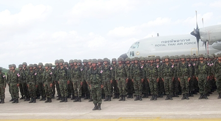 Royal Thai Marines have returned home after taking part in the joint Thai-Chinese Blue Strike 2012 exercises.