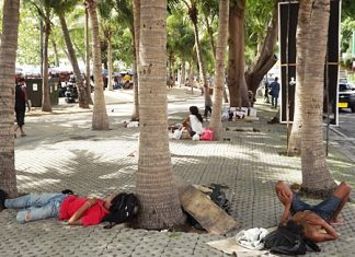 Despite city efforts, homeless are still abundant in Pattaya, and in this case take naps under a beach coconut tree.