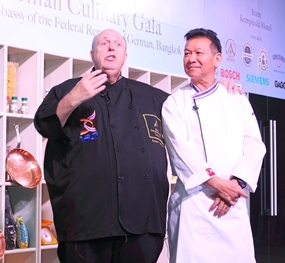 The two chefs, Calli (left) and McDang, celebrate a great night.