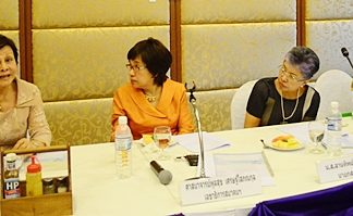 (From right) Praichit during her first meeting as president, along with Prof. Dr. Janjira Wongkhomthong and Rev. Poonsook Etsoponkul, listens to wise words of one of the founders of YWCA Pattaya, Sopin Thappajug.