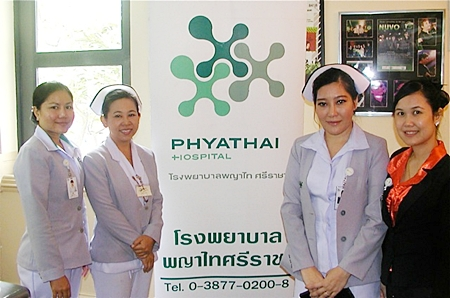 Staff and nurses of Phyathai Sriracha Hospital, from left Bussaman, Manee, Wanvisa and Anna also attended the meeting, providing free blood pressure checks to PCEC's grateful members.