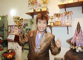 "Supan ""Professor Tum"" Srinutith won three gold medals at the World Hair & Beauty Championship."
