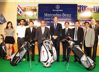 Representatives of Mercedes Benz and other tournament sponsors plus promoters Pentangle Promotions attend a press conference in Bangkok to announce the finals events to be held at Burapha Golf & Resort from June 13-15.