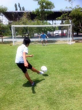 Left or right? GIS students try to beat their keeper/teacher.