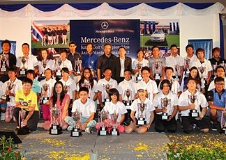 Winners at the 10th Mercedes-Benz Junior Golf Asian Masters pose with their trophies.