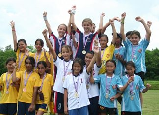 The year 6 girls team get the gold medal!.