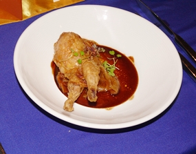 The third course is a foie gras stuffed quail.