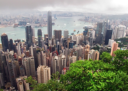 A view of the city skyline is seen from the Peak in Hong Kong. (EPA/Paul Hilton)