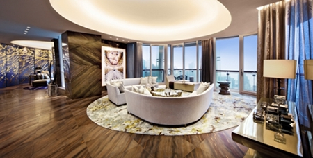Living room and family room of the Opus Hong Kong show apartment by Yabu Pushelberg.