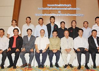 """Andre Brulhart (seated 4th left), GM of Centara Grand Mirage Beach Resort joins in a group photo with senior management of Toyota Motor Thailand Co., Ltd. during their seminar entitled """"Innovative Thinking & Leadership Development for Executives"""" which was held at the hotel recently."""