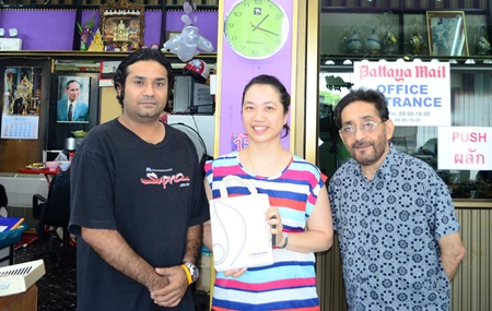 Vikrom (left) and Marlowe Malhotra of Massic Travel, the Eastern Seaboard's friendliest and most popular travel agents welcome Isaraporn Kongchana (centre), County Sales Manager Thailand and Indochina of Finnair on her visit to their offices recently to introduce attractive summer fares on their worldwide routes.