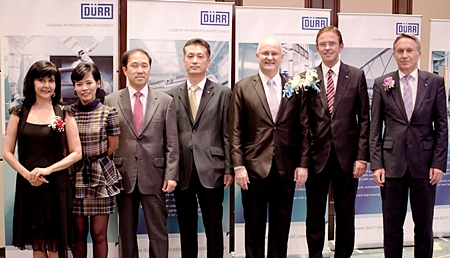 Dürr Thailand held their official opening ceremony on June 22 at the Grand Ballroom Shangri-La Hotel Bangkok. (Right to left) Dr. Hans Schumacher, President & CEO of Dürr Systems GmbH, Ralf W. Dieter, CEO of Dürr AG, Bernard Condrau, President & CEO of Dürr Thailand, Simon Oh, SEA Sales Director of Dürr Thailand, Tony Shin, Vice President of DÜRR Korea, Khanitta Khannongpho, Assistant to President & CEO DÜRR Thailand, and Sue K, PMTV Director.
