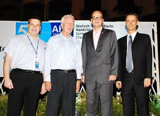 During the 50 anniversary celebrations of the German Thai Chamber of Commerce (GTCC) held at the Royal Cliff Grand Hotel recently, GTCC President Karl-Heinz Heckhausen (left) introduced Joerg Buck (2nd right) as the new Executive Director of GTCC. They were joined by Royal Cliff Hotels Group Director of Sales (Leisure, Europe) Andreas Grommeck (left) and GM Christoph Voegeli (right).