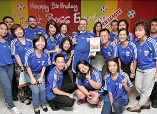 """Staff of the Amari Watergate Bangkok organised a birthday celebration recently for GM Pierre Andre Pelletier (centre with the champion's trophy) claiming him to be their """"Best Boss Ever"""". Long-time friends in Pattaya including the Pattaya Mail and Pattaya Blatt also wish you many happy returns."""