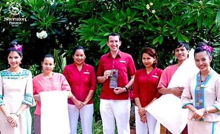 """Michael Delargy, GM of the Sheraton Pattaya Resort led his associates in participating in the """"Make a Green Choice (MAGC)"""" program recently. MAGC is part of Starwood's sustainability program, in order to reduce water consumption, energy usage and help keep chemicals out of our environment. By declining housekeeping services for just one night, almost 40 gallons of water, enough electricity to run a laptop for 10 hours, 25,000 BTUs of natural gas and 7 oz. of chemicals can be saved."""