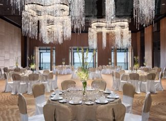 August Design Consultant, one of two design teams newly appointed by luxury property developer Tulip Group for the upcoming Centara Grand Resort and Spa Jomtien, designed the Seaboard Ballroom at Hilton Pattaya (shown).