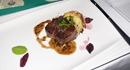 The main was a premium marbled Australian beef tenderloin with caramelized cabbage and potato wedge.